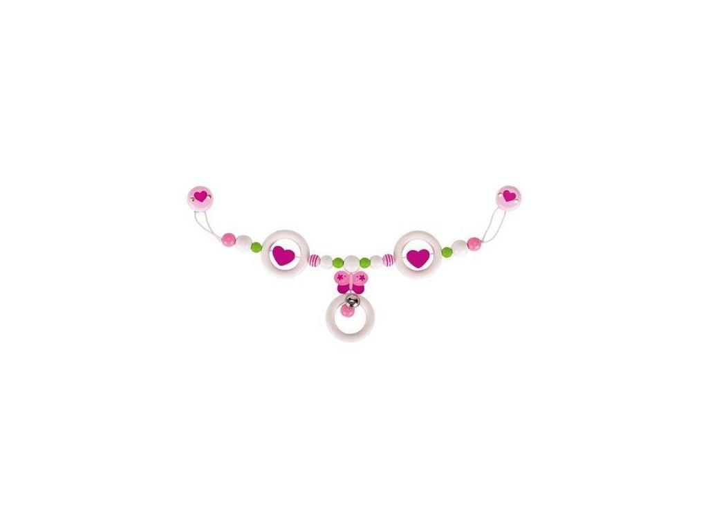 Růžový motýlek – řetěz do kočárku
