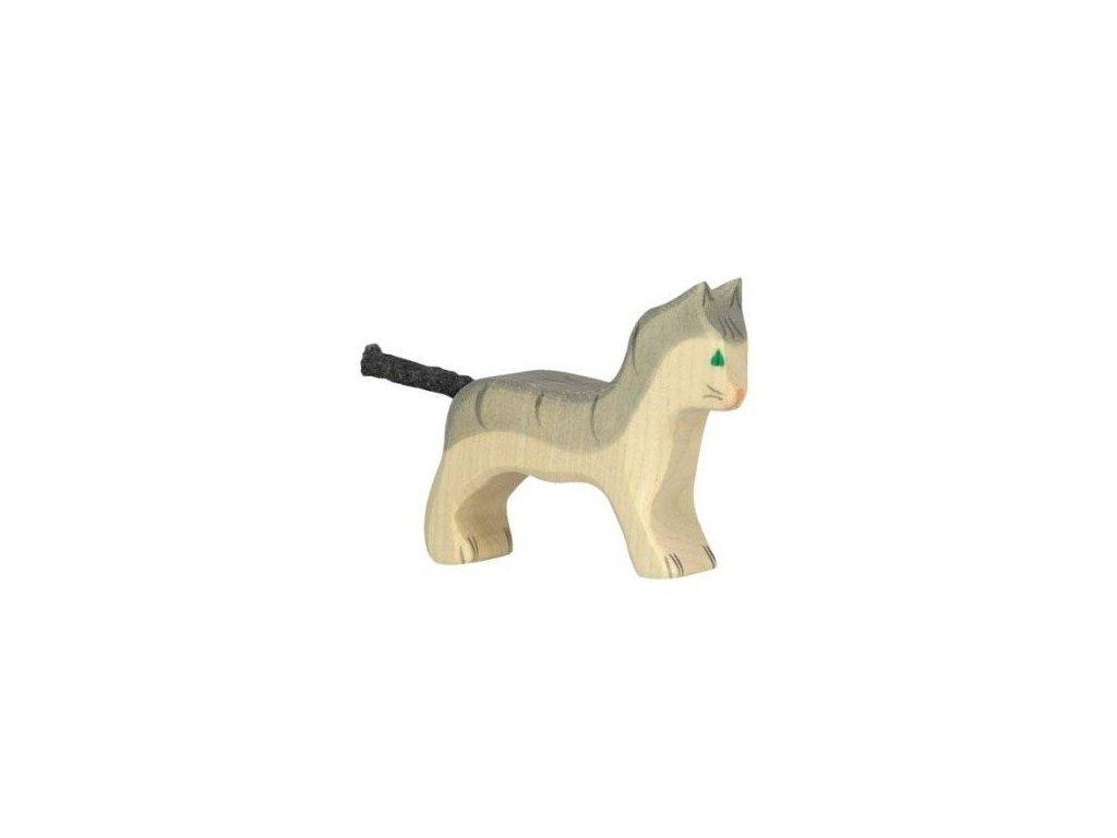 Kočička malá, šedivá – vyřezávaná dřevěná hračka