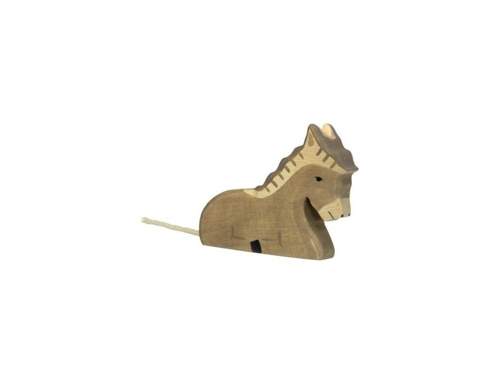 Oslík ležící – zvířátko ze dřeva