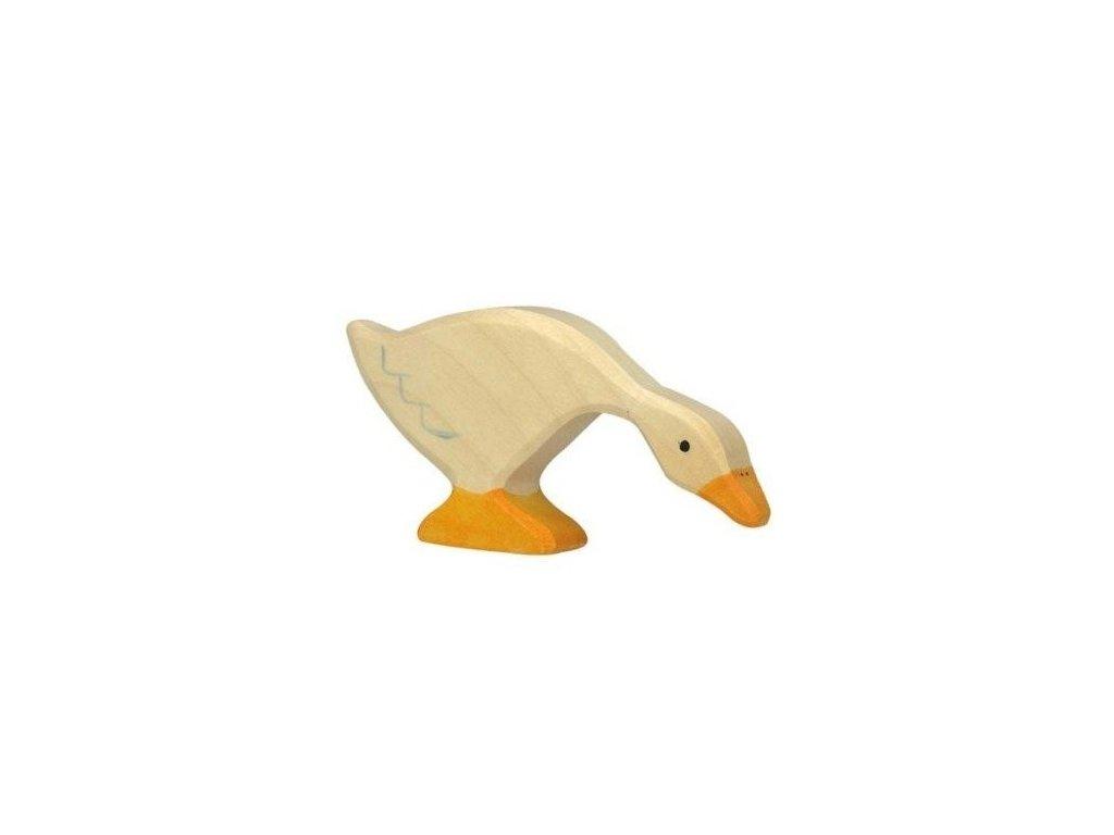 Husička na pastvě – dřevěné zvířátko