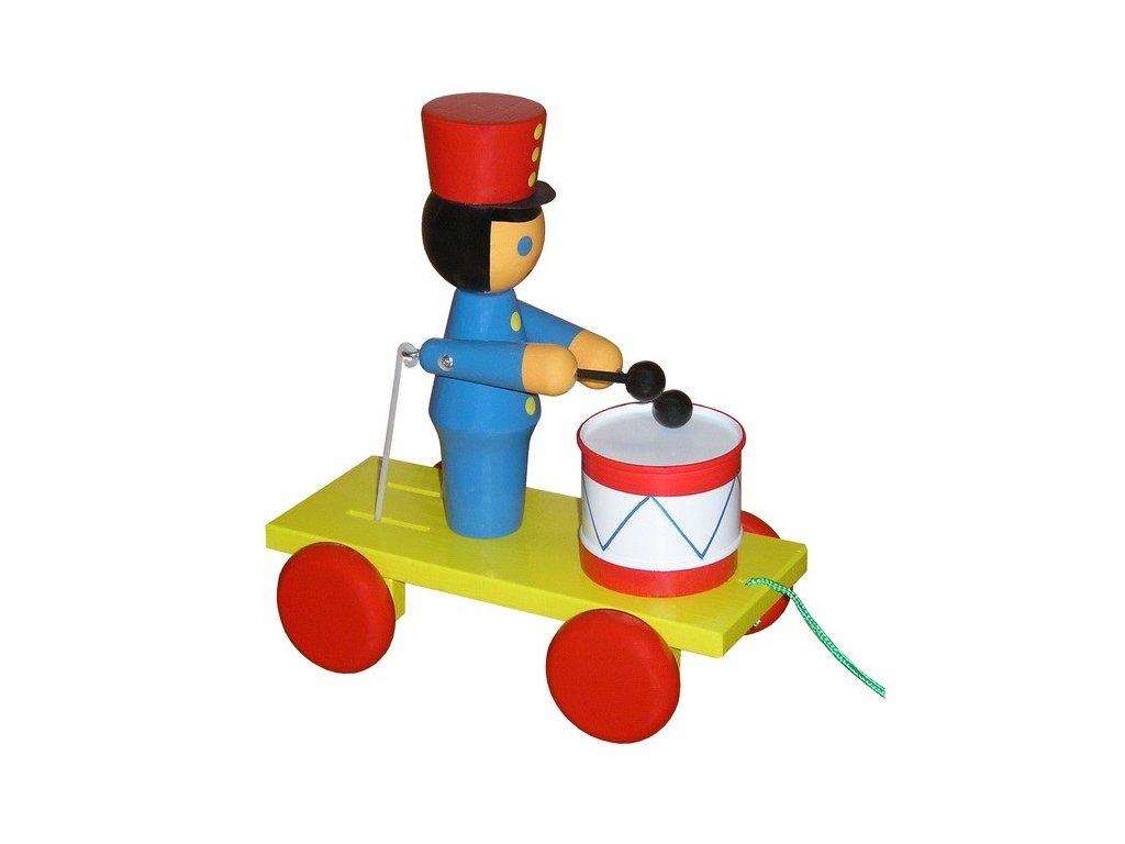Tahací vozík - voják barevný s bubínkem