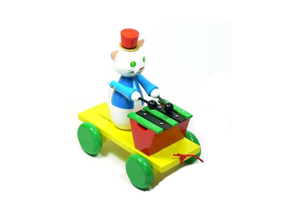 Miva Tahací vozík - kočička barevná s xylofonem