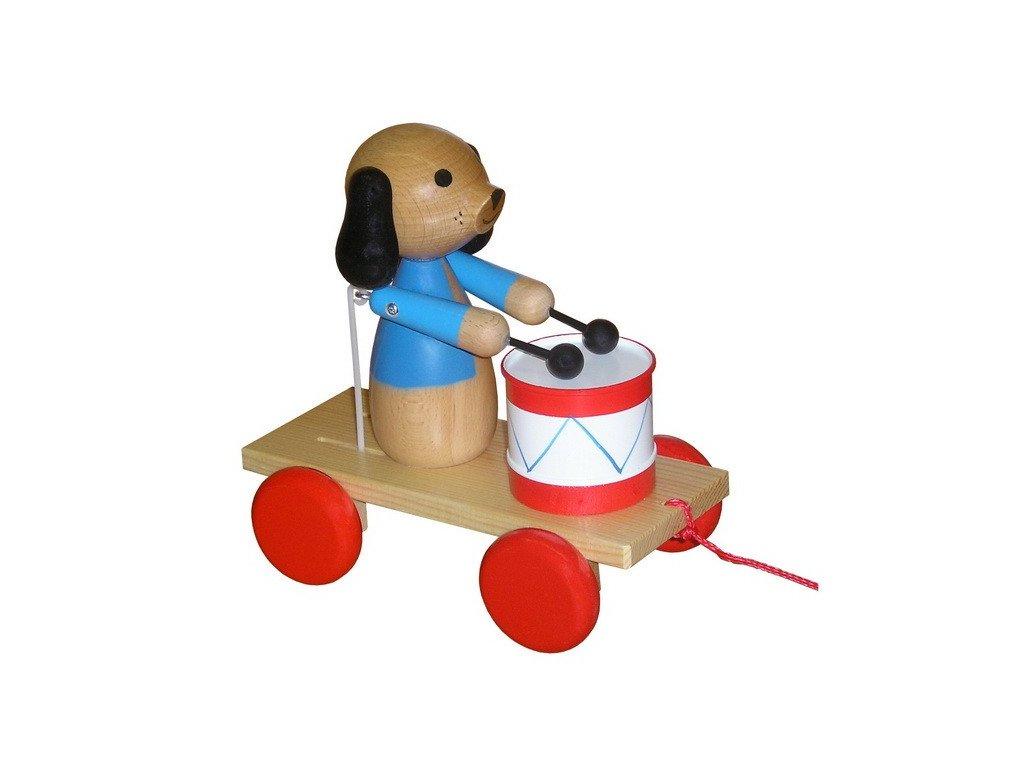 Tahací pes s bubnem - lakovaný