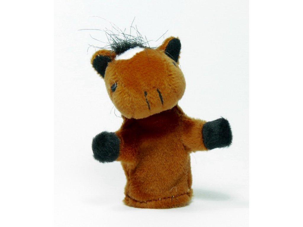 026 - Kůň tm. hnědý - prstový maňásek