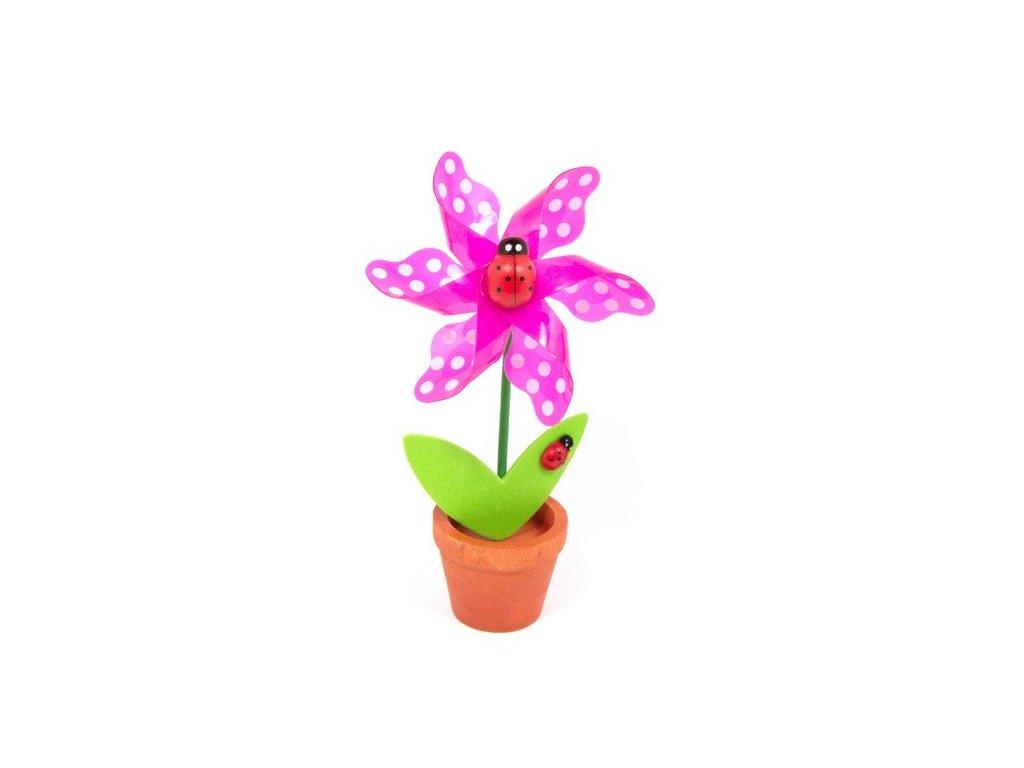 Růžová květina - větrník