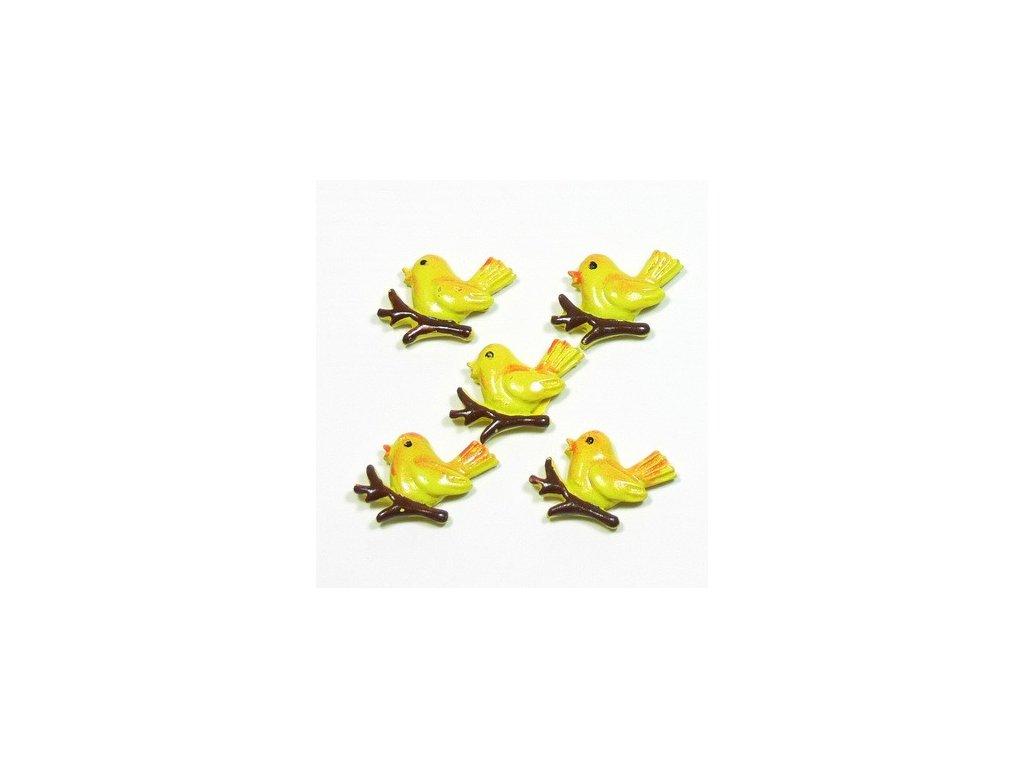 Ptáček žlutý - keramický, 5ks
