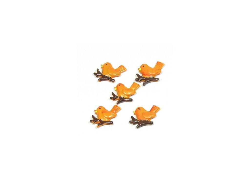 Ptáček oranžový - keramický, 5ks