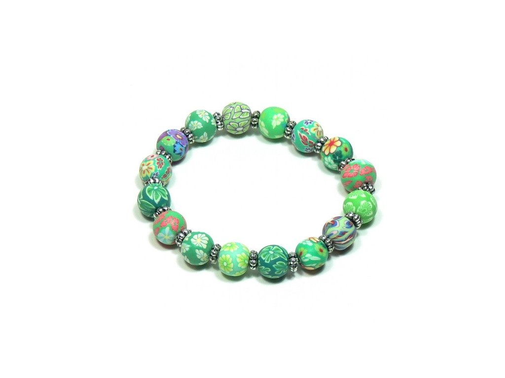 Zelený fimo náramek - kuličky