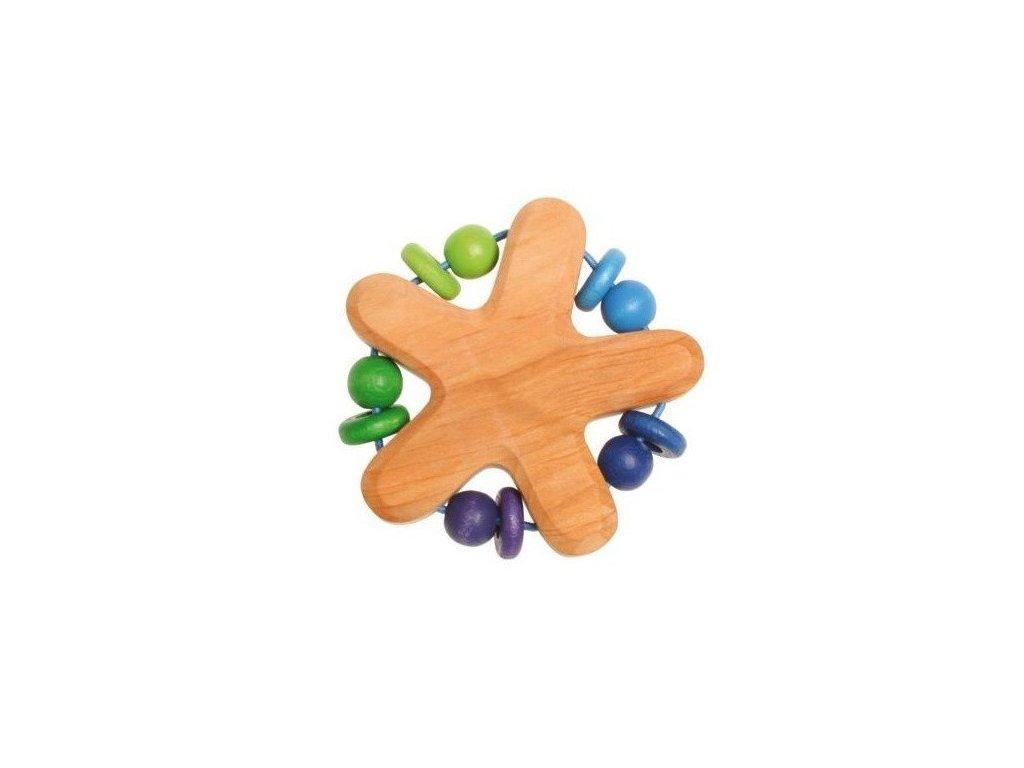 Dřevěné chrastítko s perličkami - modré a zelené korálky