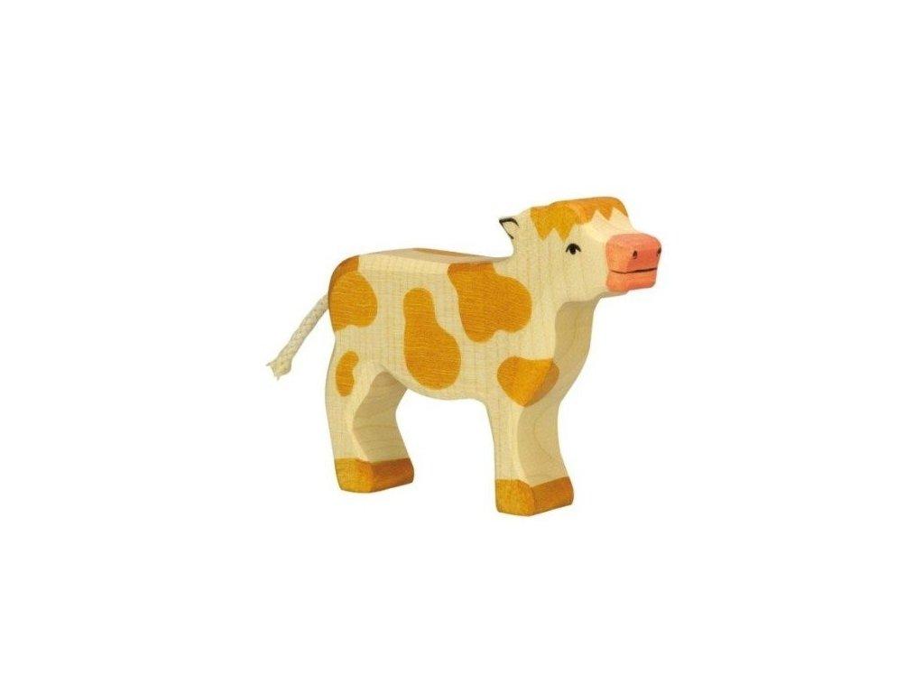 Telátko, hnědé – dřevěné zvířátko