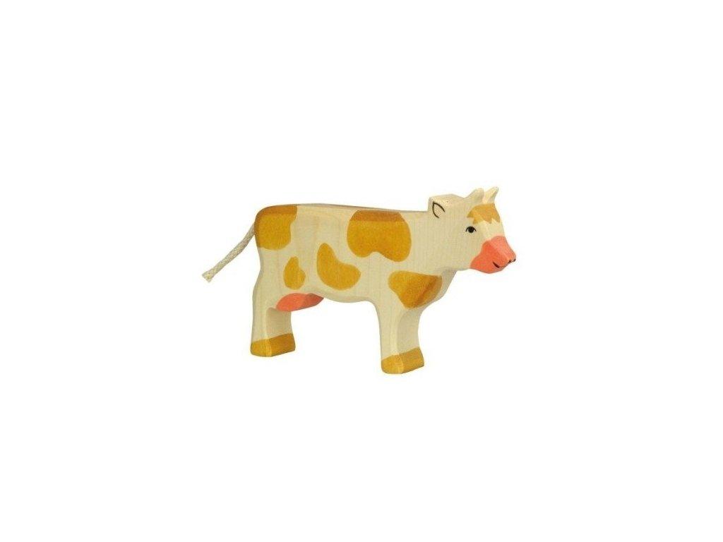 Kravička, hnědá – dřevěné zvířátko