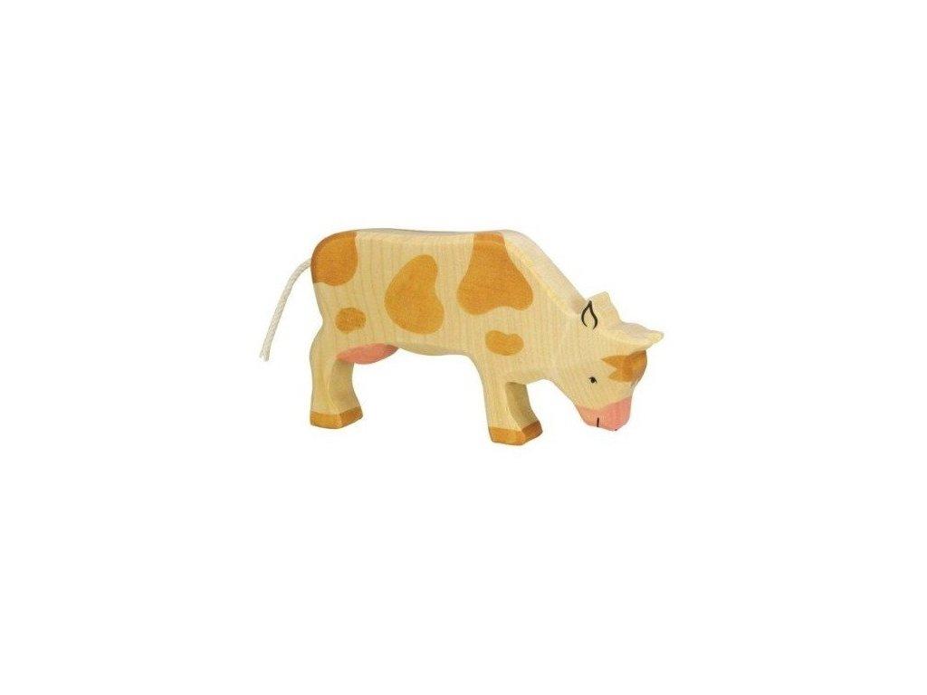 Kravička na pastvě, hnědá – dřevěné zvířátko