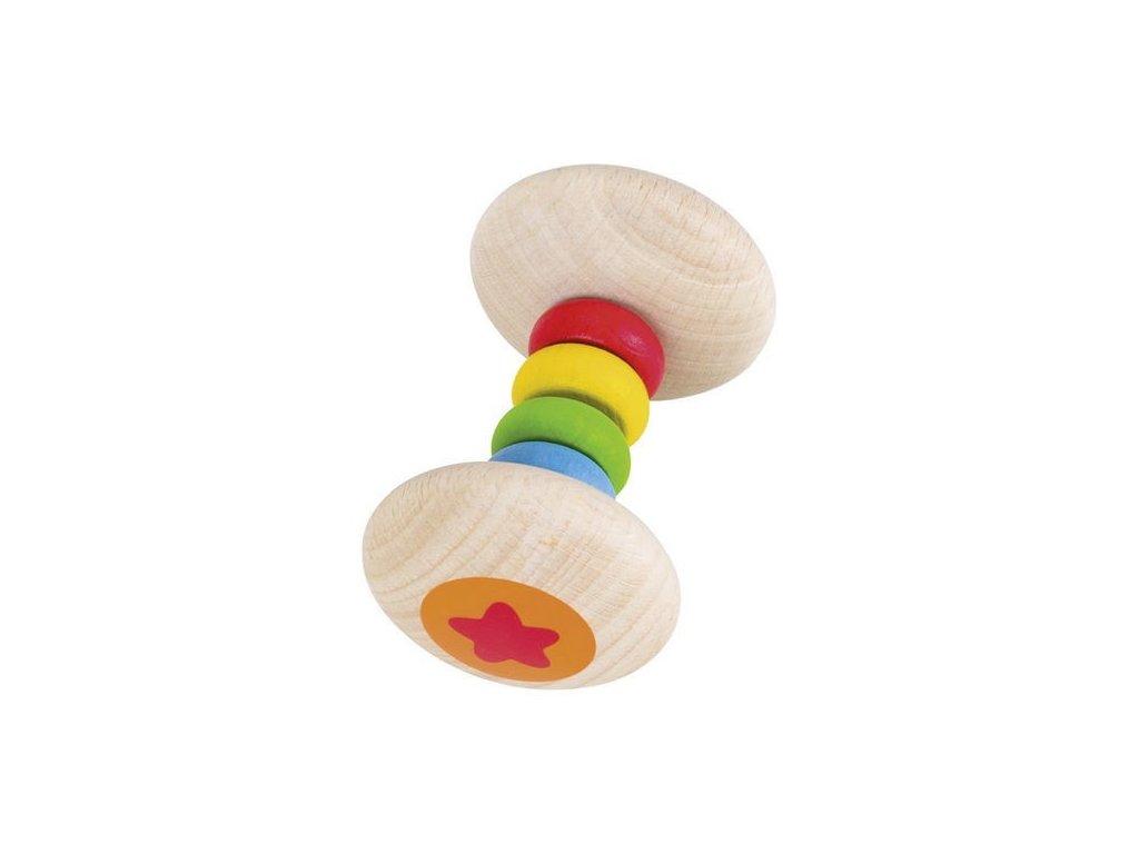 Dřevěná hračka – chrastítko duha