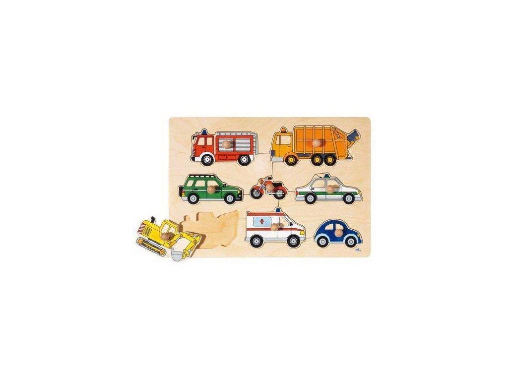 Puzzle s dřevěnými úchytkami – Dopravní prostředky