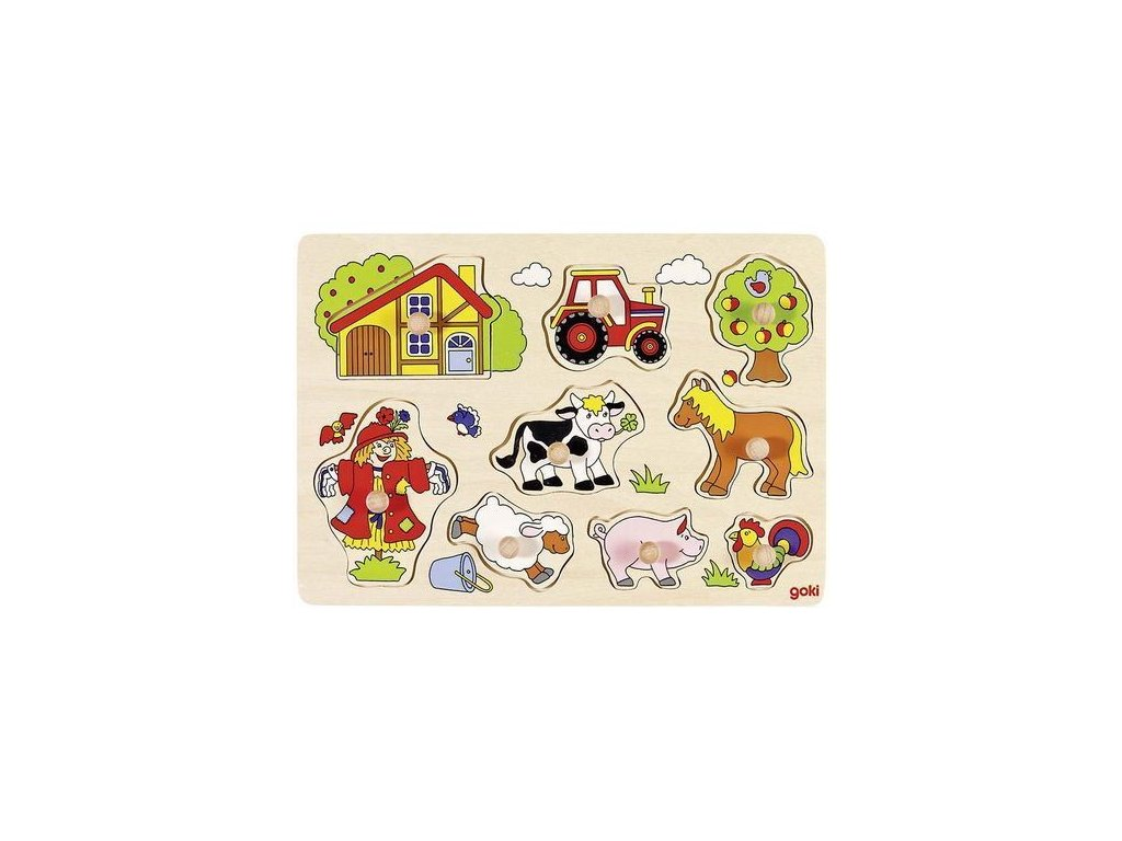 Puzzle s dřevěnými úchytkami – Zvířata na statku IV