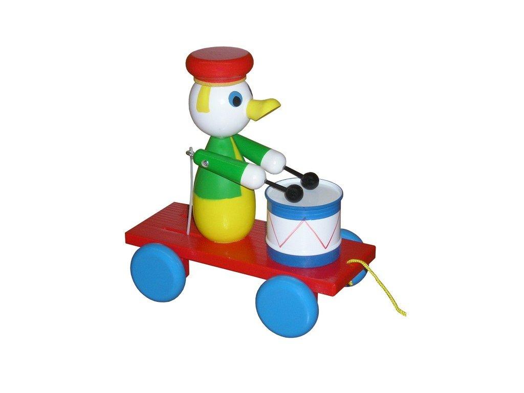 Tahací vozík - kačer barevný s bubínkem