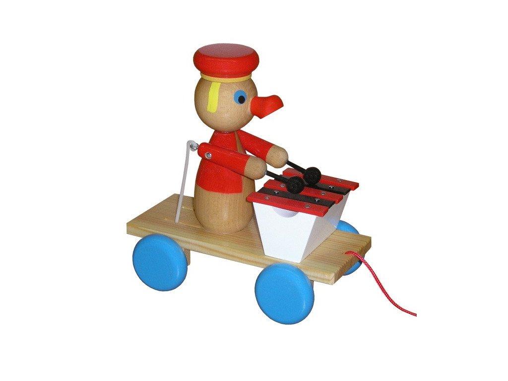 Tahací vozík - kačer lakovaný s xylofonem