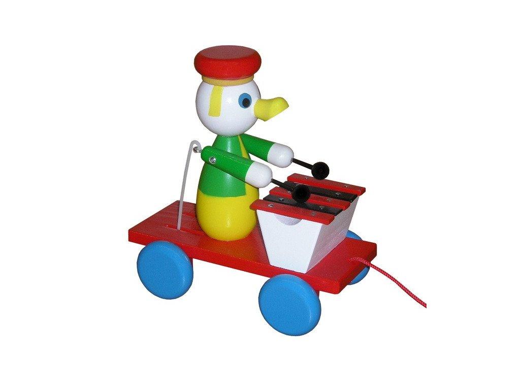 Tahací vozík - kačer barevný s xylofonem