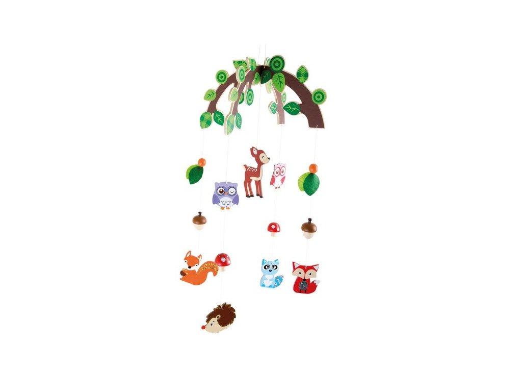 Dřevěný závěsný kolotoč – Lesní zvířátka