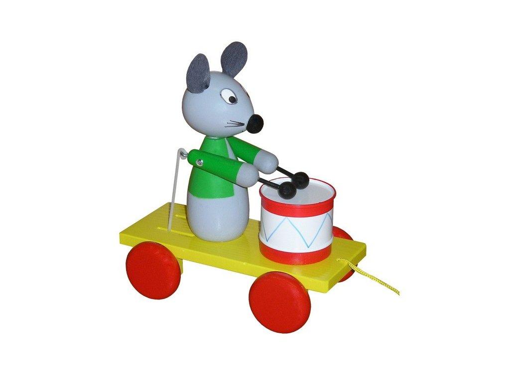 Tahací vozík - myš barevná s bubínkem
