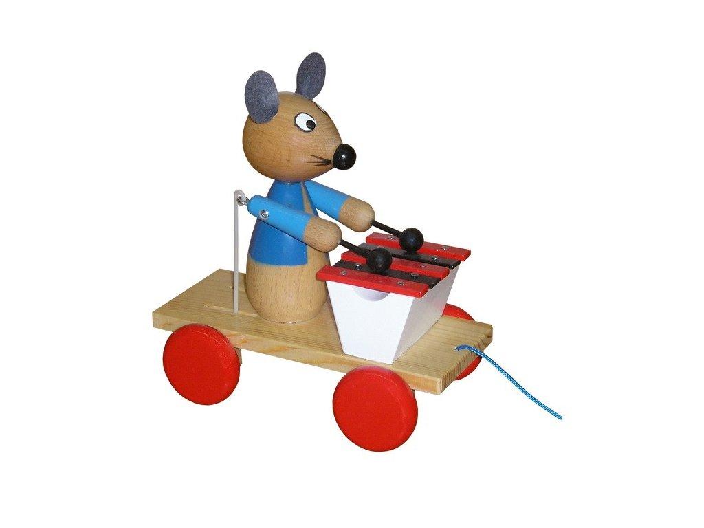 Tahací vozík - myš lakovaná s xylofonem