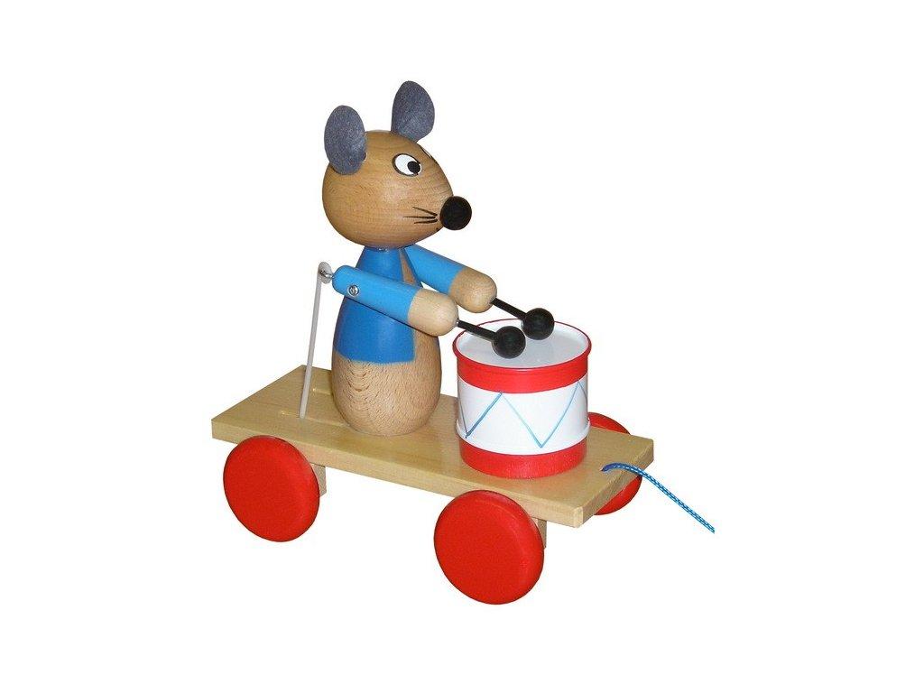 Tahací vozík - myš lakovaná s bubínkem