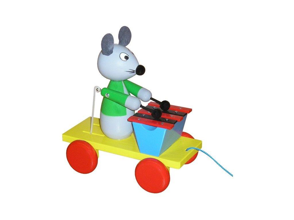 Tahací vozík - myš barevná s xylofonem