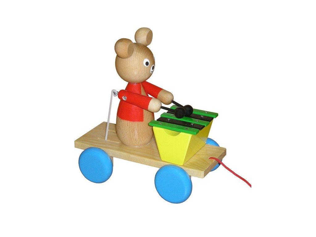 Tahací vozík - medvěd lakovaný s xylofonem
