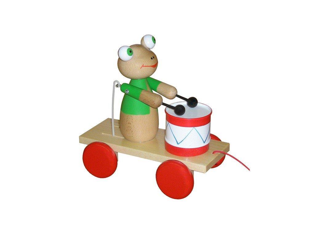 Tahací vozík - žába lakovaná s bubínkem