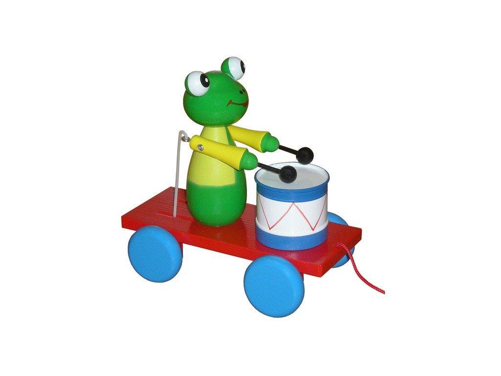 Tahací vozík - žába barevná s bubínkem