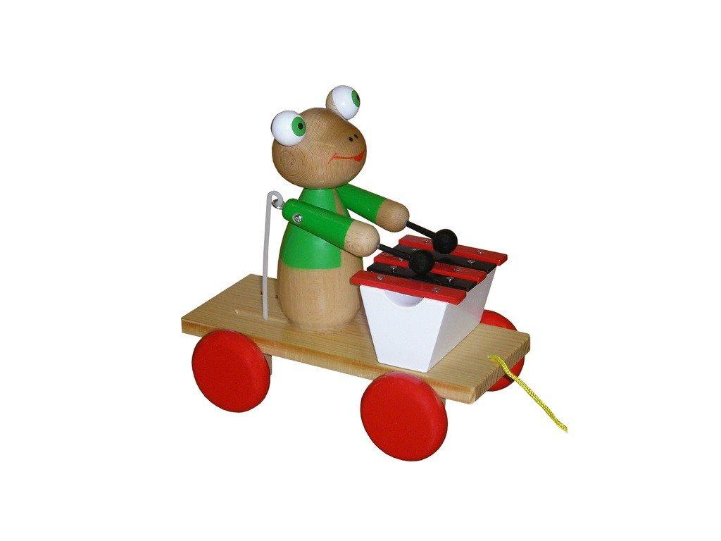 Tahací vozík - žába lakovaná s xylofonem