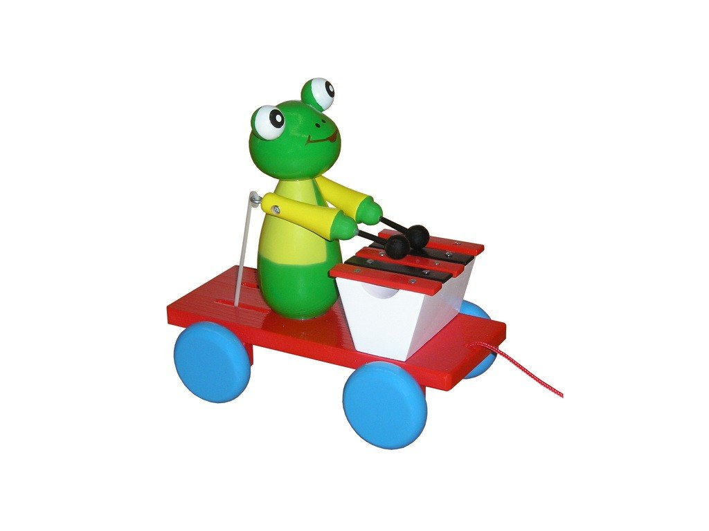 Tahací vozík - žába barevná s xylofonem