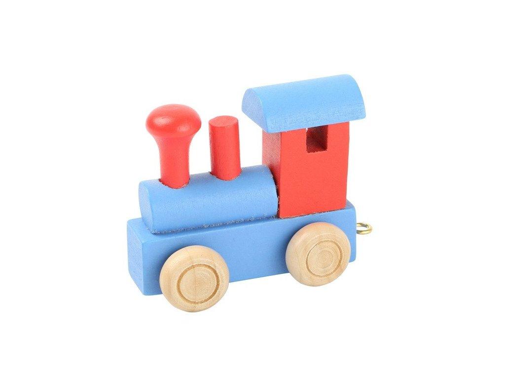 Lokomotiva modročervená - barevný vlak