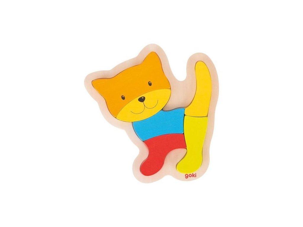Dřevěné puzzle kočička, 5 dílů