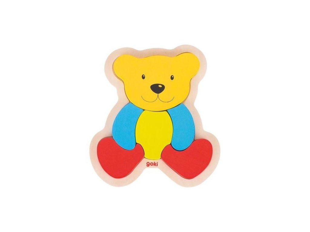 Dřevěné puzzle medvídek, 6 dílů