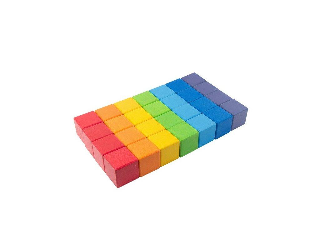 Velké dřevěné kostky Duha 5 cm (7 barev) - 28 ks
