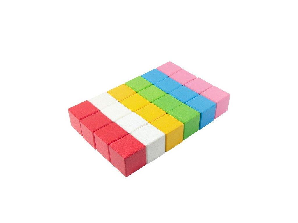 Velké dřevěné kostky Lili 5 cm (6 barev) - 24 ks