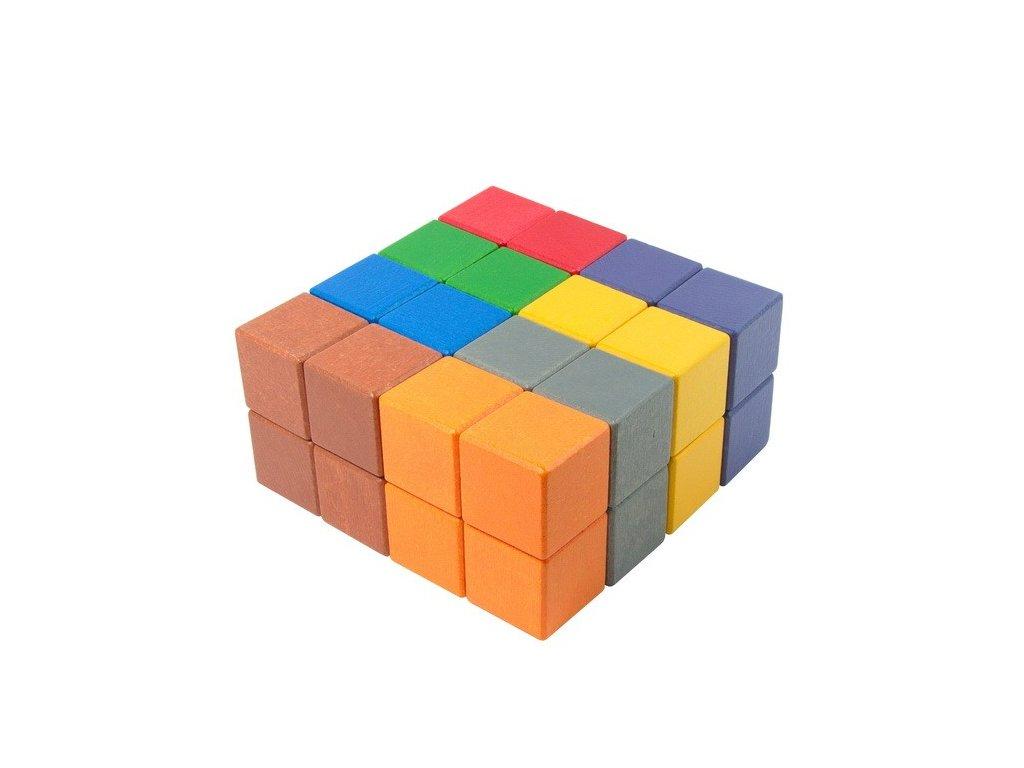 Velké dřevěné kostky 5 cm (8 barev) - 32 ks