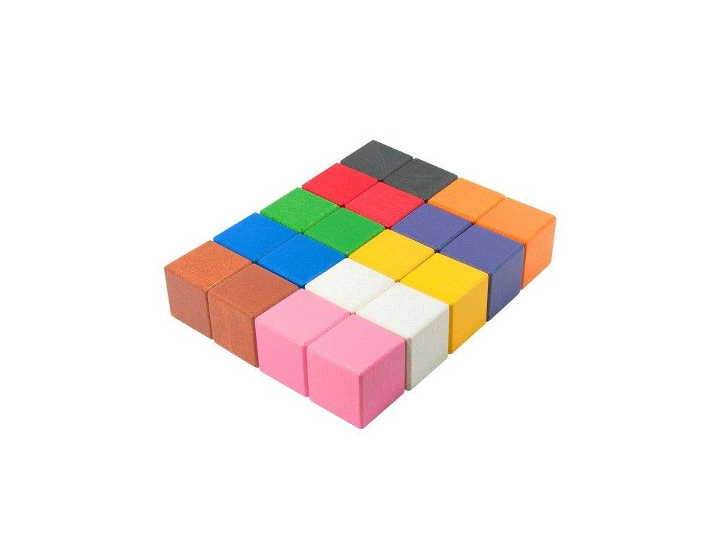 Velké dřevěné kostky 5 cm (10 barev) - 20 ks