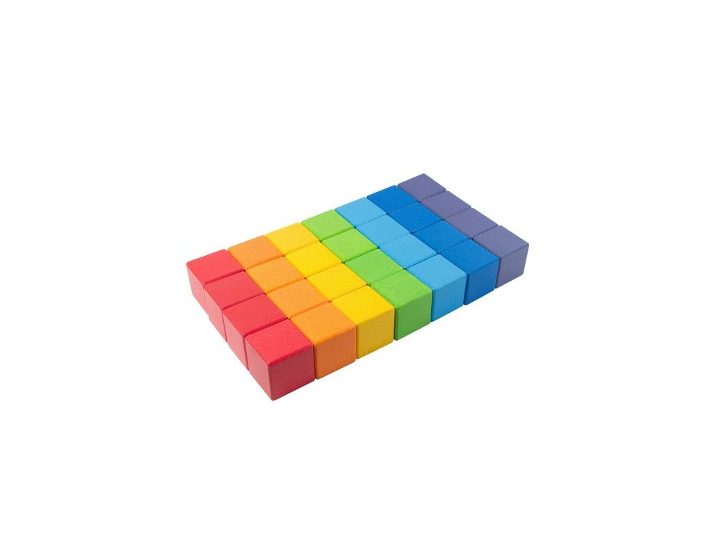 Dřevěné kostky Duha 4 cm (7 barev) - 28 ks
