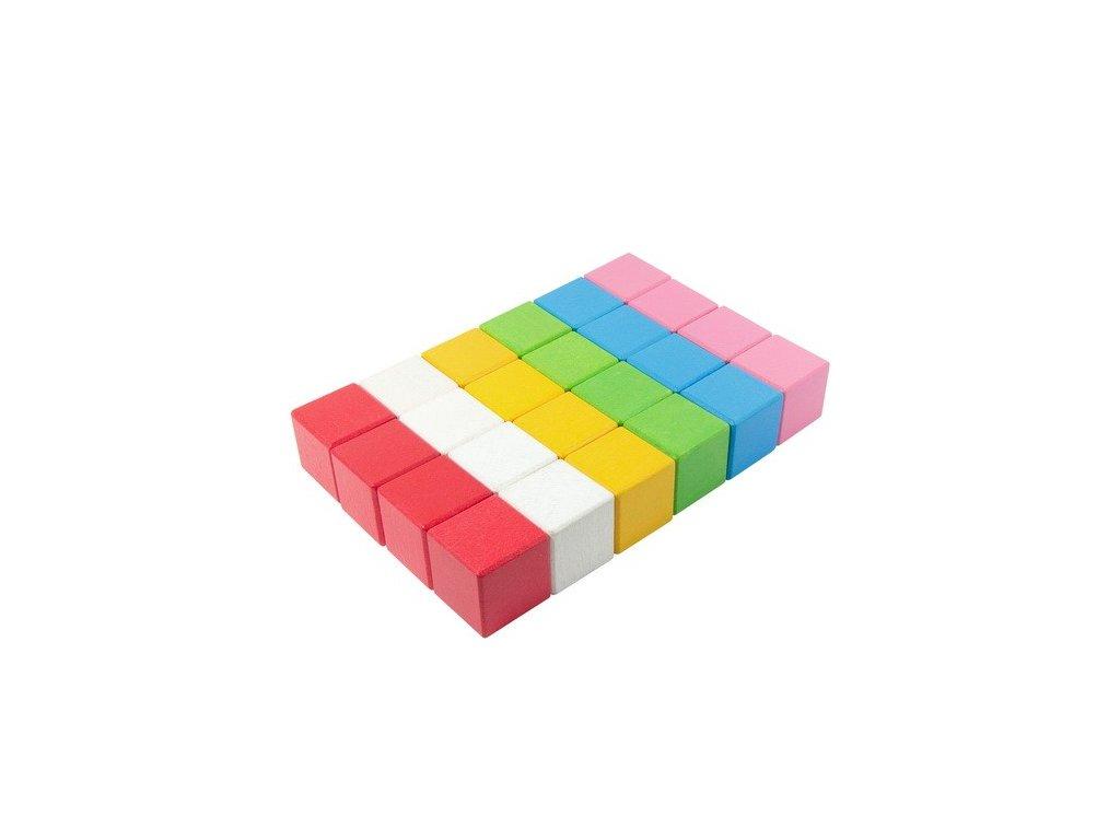 Dřevěné kostky Lili 4 cm (6 barev) - 24 ks