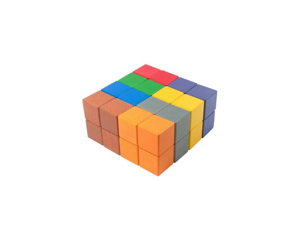 Dřevěné kostky 4 cm (8 barev) - 32 ks