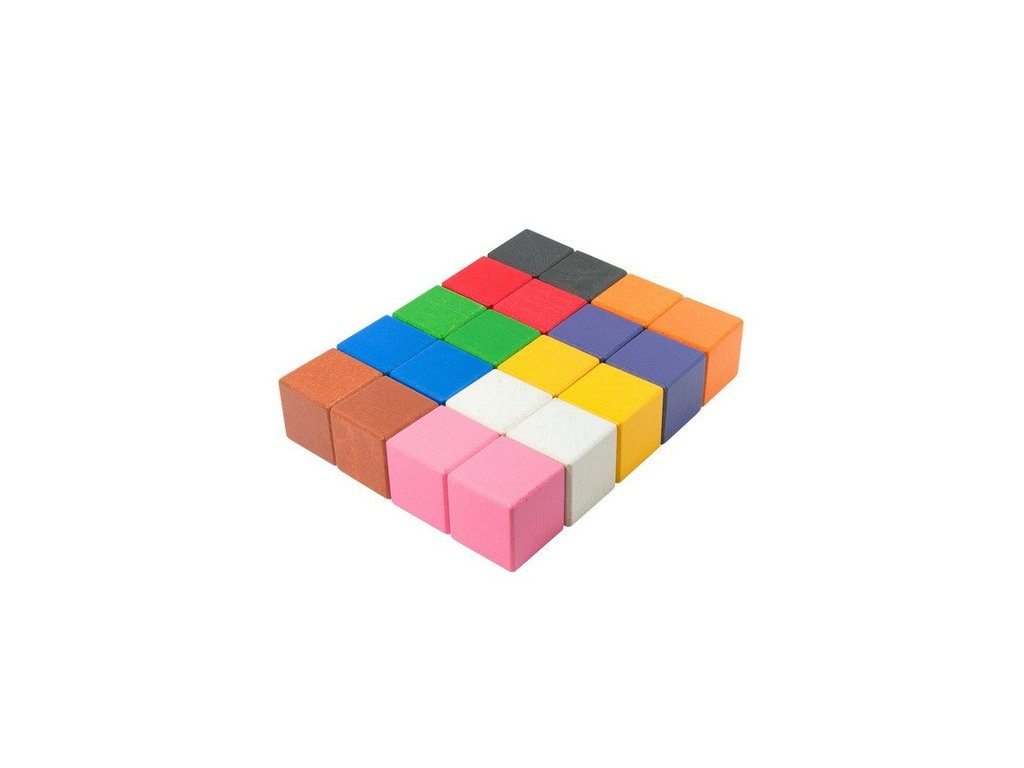 Dřevěné kostky 4 cm (10 barev) - 20 ks