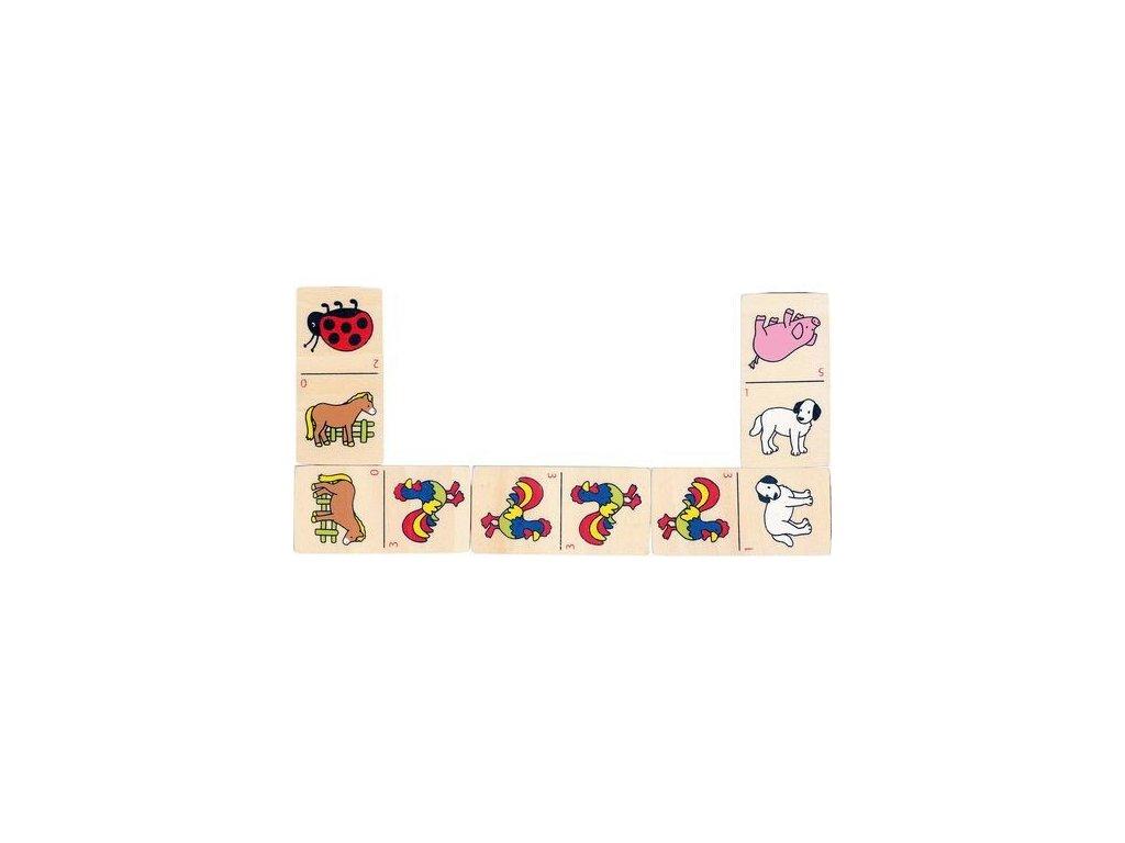 Domino zvířátka v dřevěné krabičce, 28 dílů