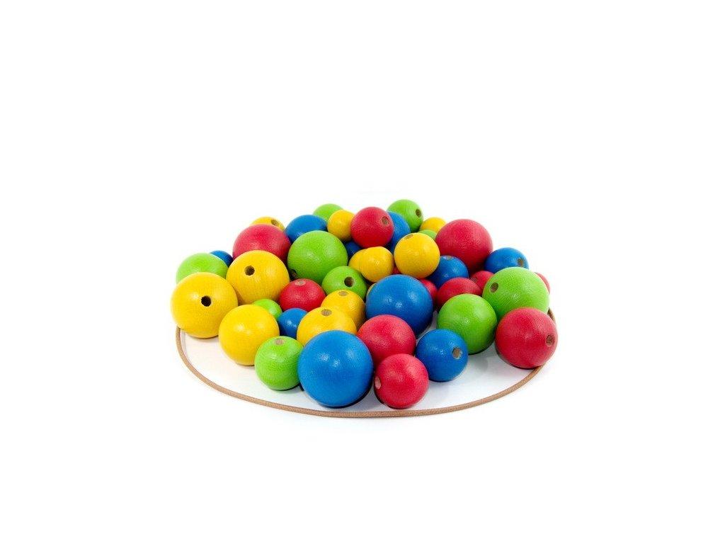 Dřevěné barevné korále - 4 barvy, 48 ks