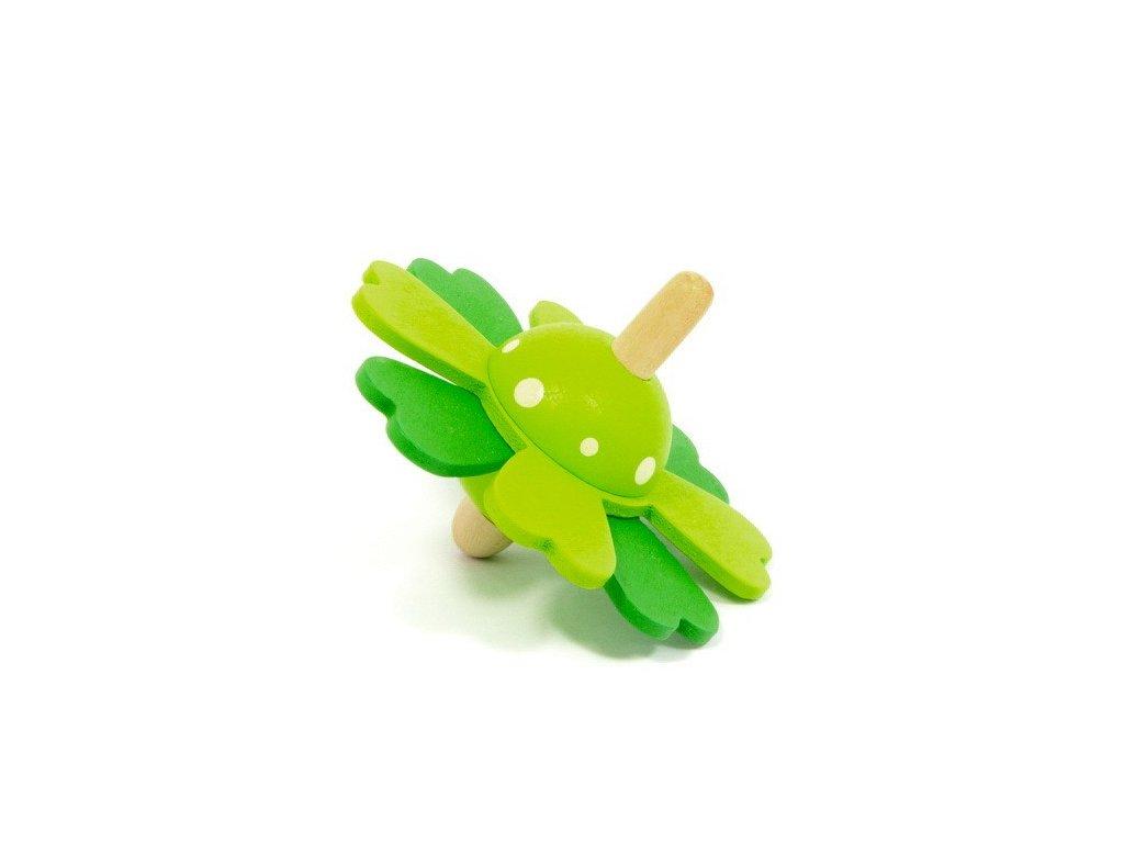 Dřevěná káča - Kytka zelená
