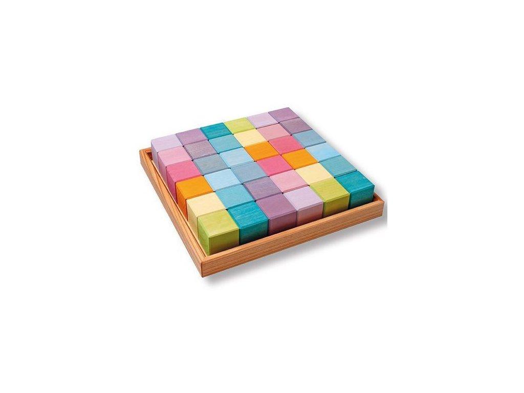 Stavebnice čtverec krychle pastelová, 36 dílů