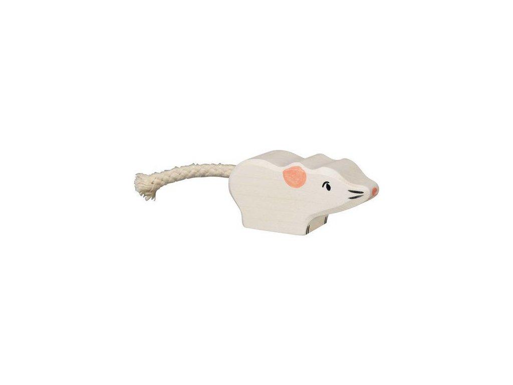 Holztiger Bílá myška – zvířátko ze dřeva