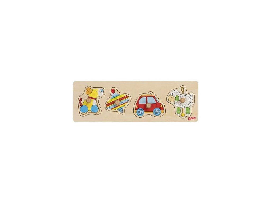 Goki Puzzle s dřevěnými úchytkami – Hračky, 4 díly
