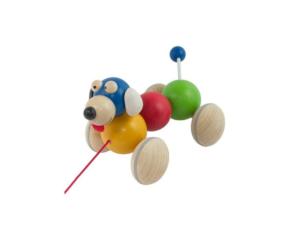 Dřevěný tahací pes barevný